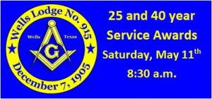 25 and 40 Year Service Awards Presentation @ Wells Lodge No. 915